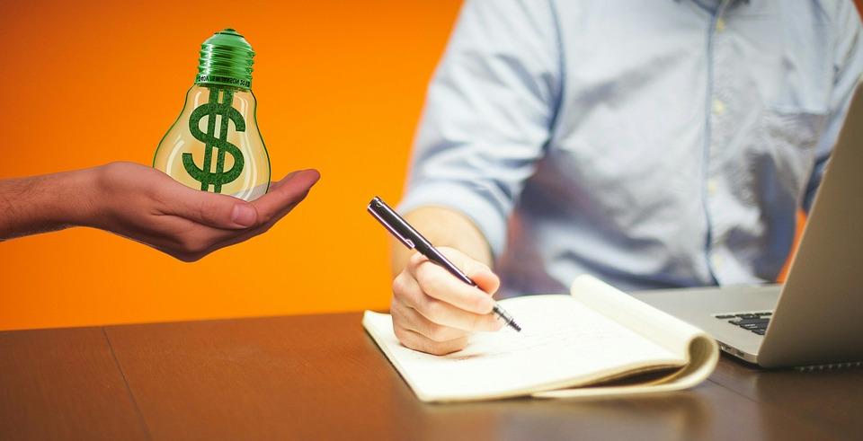 písanie, notebook, peniaze, nápad